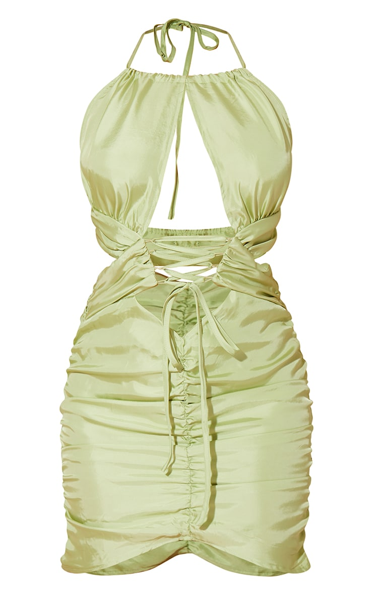 Green Satin Halterneck Lace Up Detail Ruched Midi Dress 5