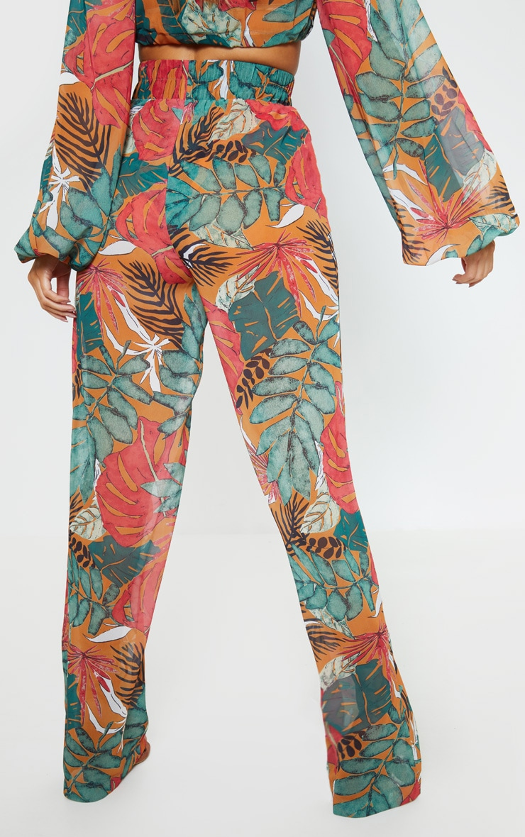 Orange Big Leaf Wide Leg Beach Pants 2