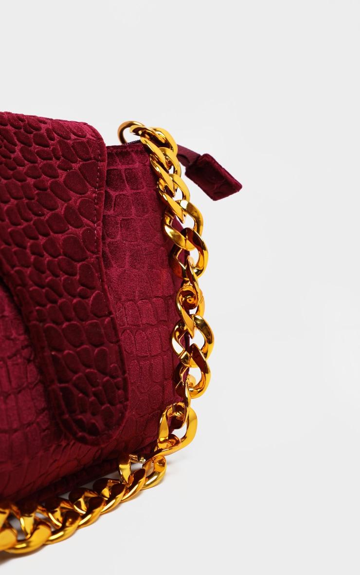 Burgundy Velvet Croc Gold Chain Handbag 4
