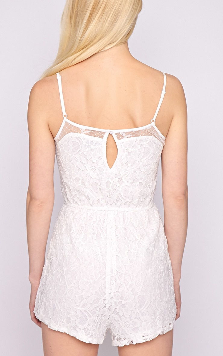 Jolie White Lace Strappy Playsuit  2