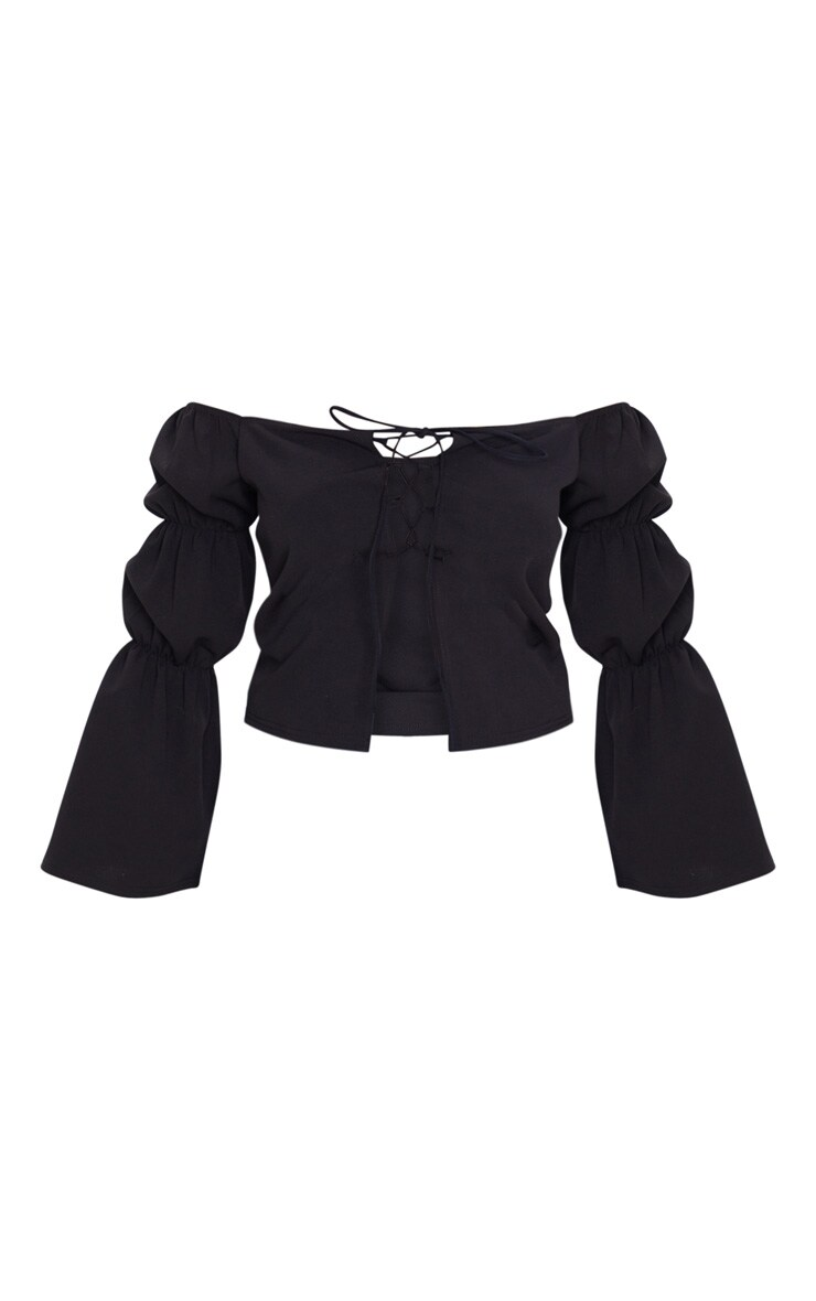 Black Crepe Lace Up Puff Long Sleeve Top 3