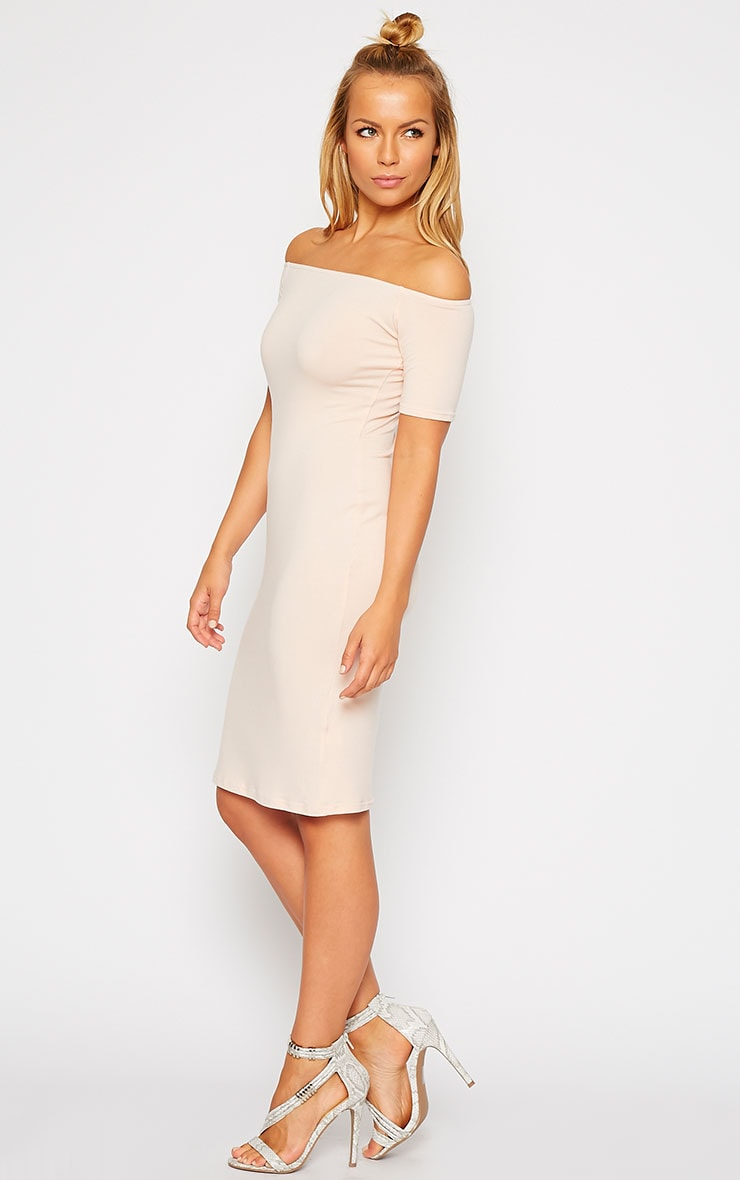 Caty Nude Jersey Bardot Midi Dress 4