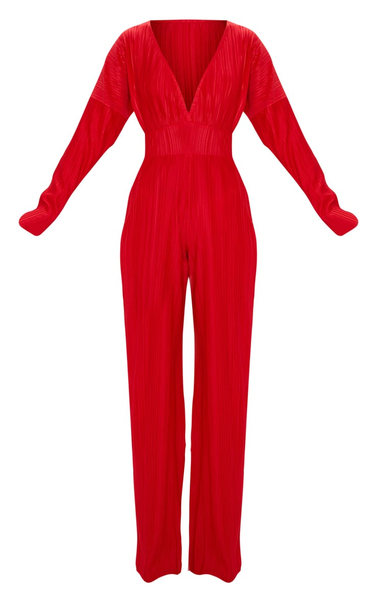 Red Long Sleeve Pleated Jumpsuit 3