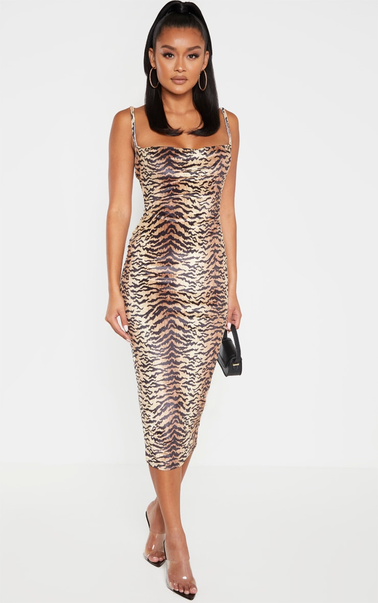 Brown Velvet Strappy Tiger Print Midi Dress 1