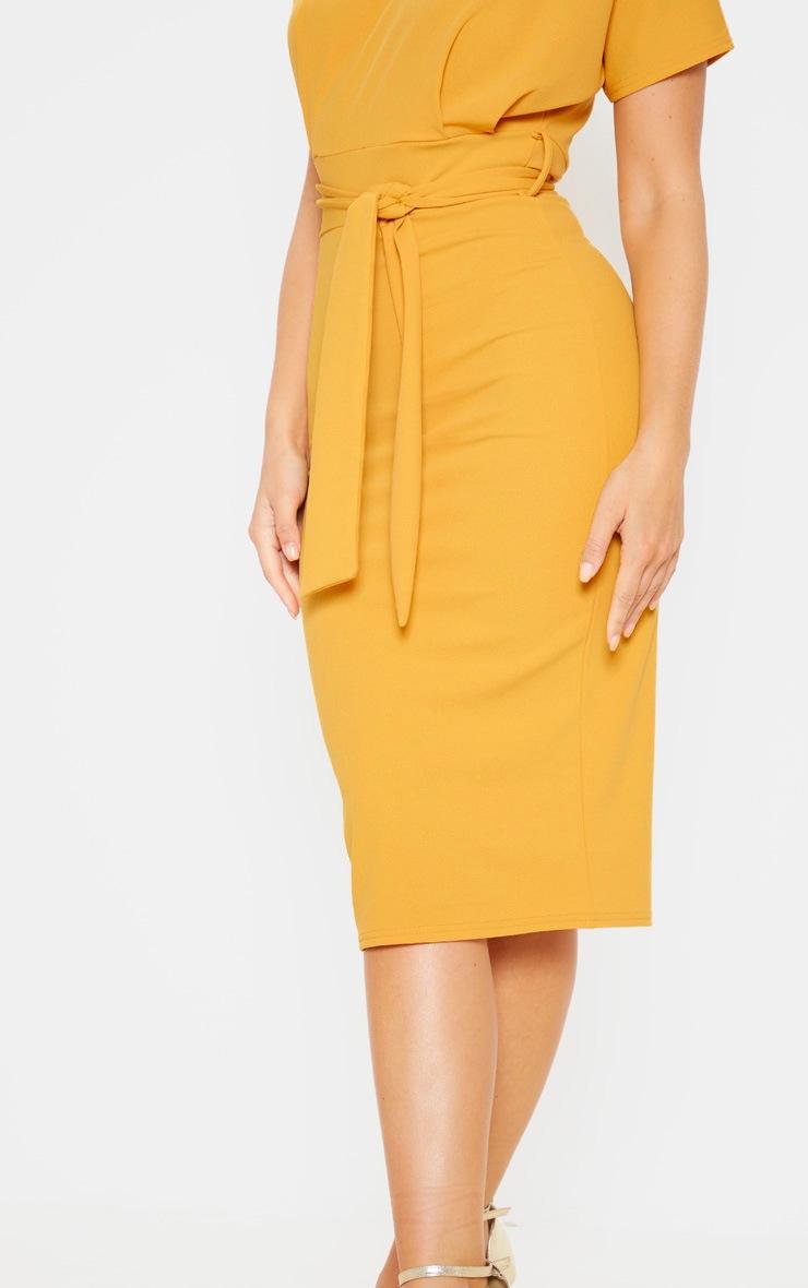 Mustard Short Sleeve Tie Waist Midi Dress 5