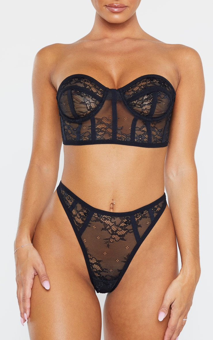 Black Delicate Lace Thong 1