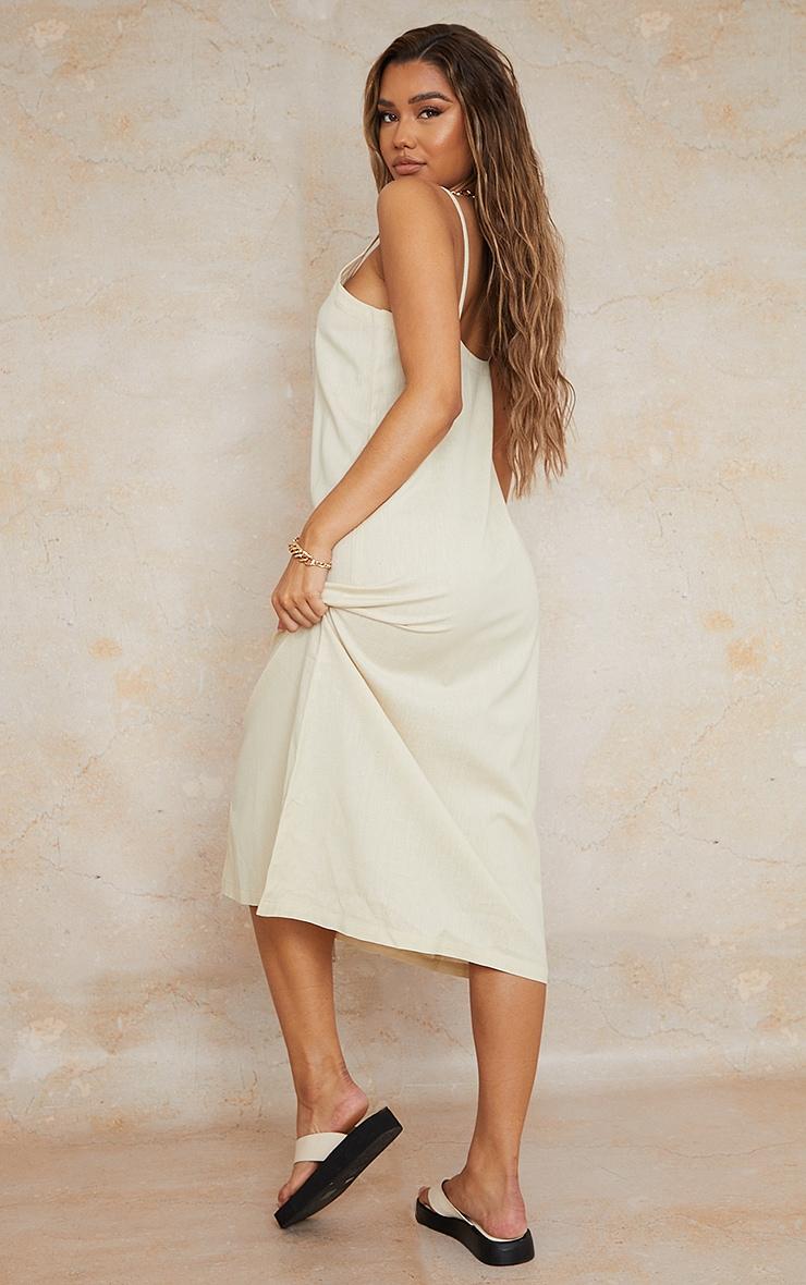 Stone Linen Look Wooden Button Down Strappy Slip Maxi Dress 2