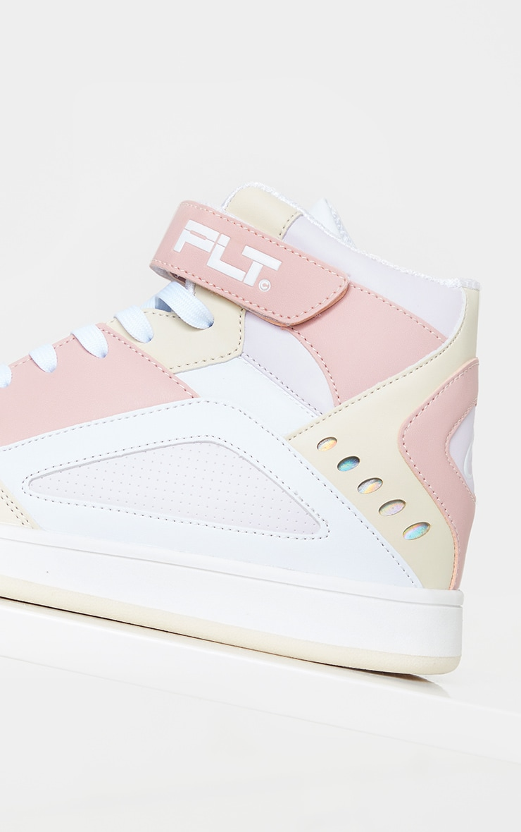 PRETTYLITTLETHING Pink Strap High Top Trainers 5