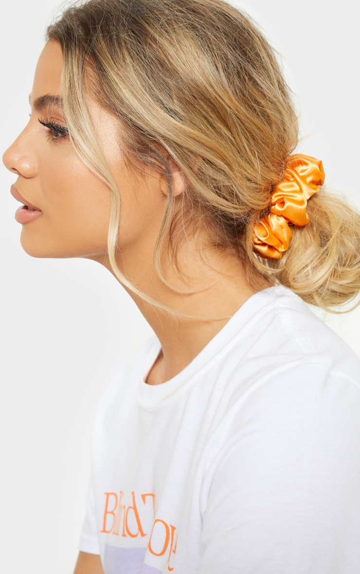 Orange Satin Scrunchie 1