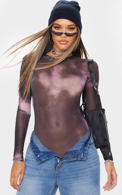 Purple Tie Dye Printed Sheer Mesh Crew Neck Bodysuit