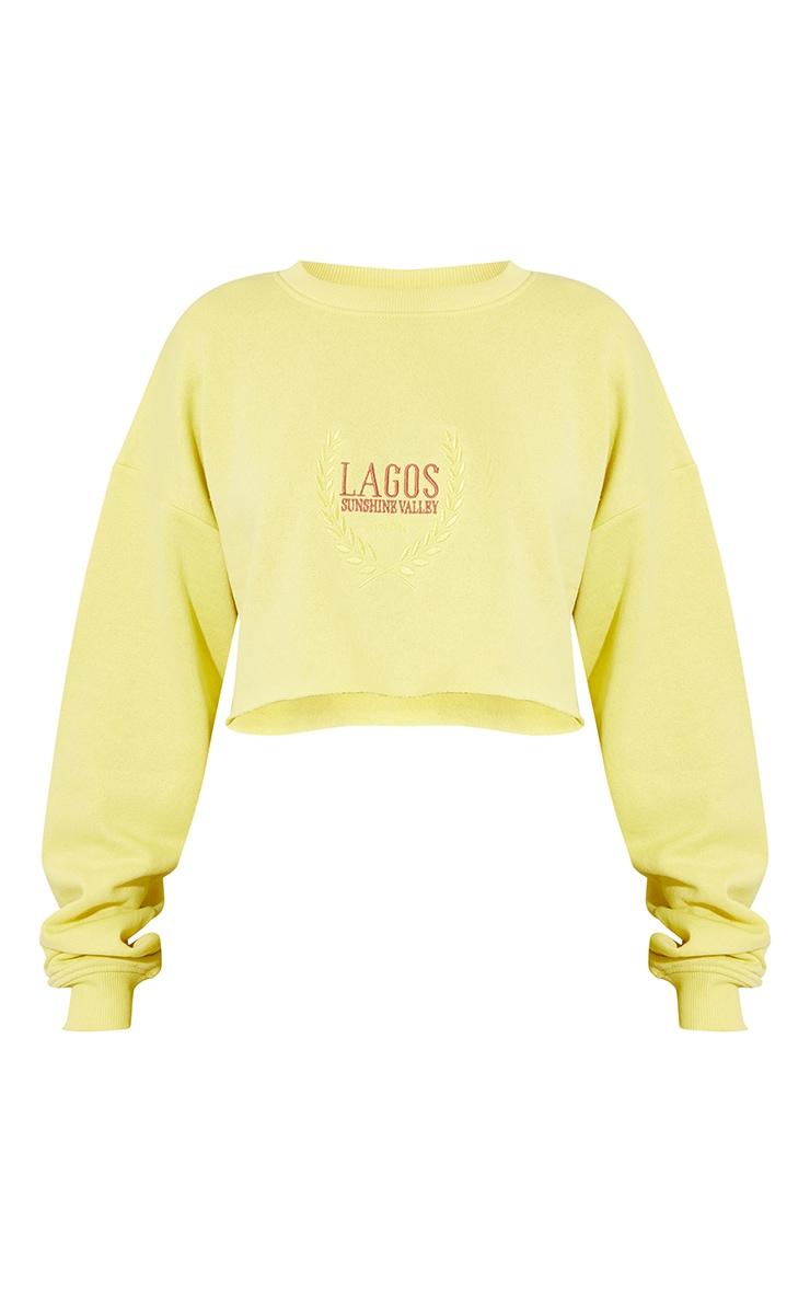 Lime LAGOS Printed Cropped Sweatshirt 5