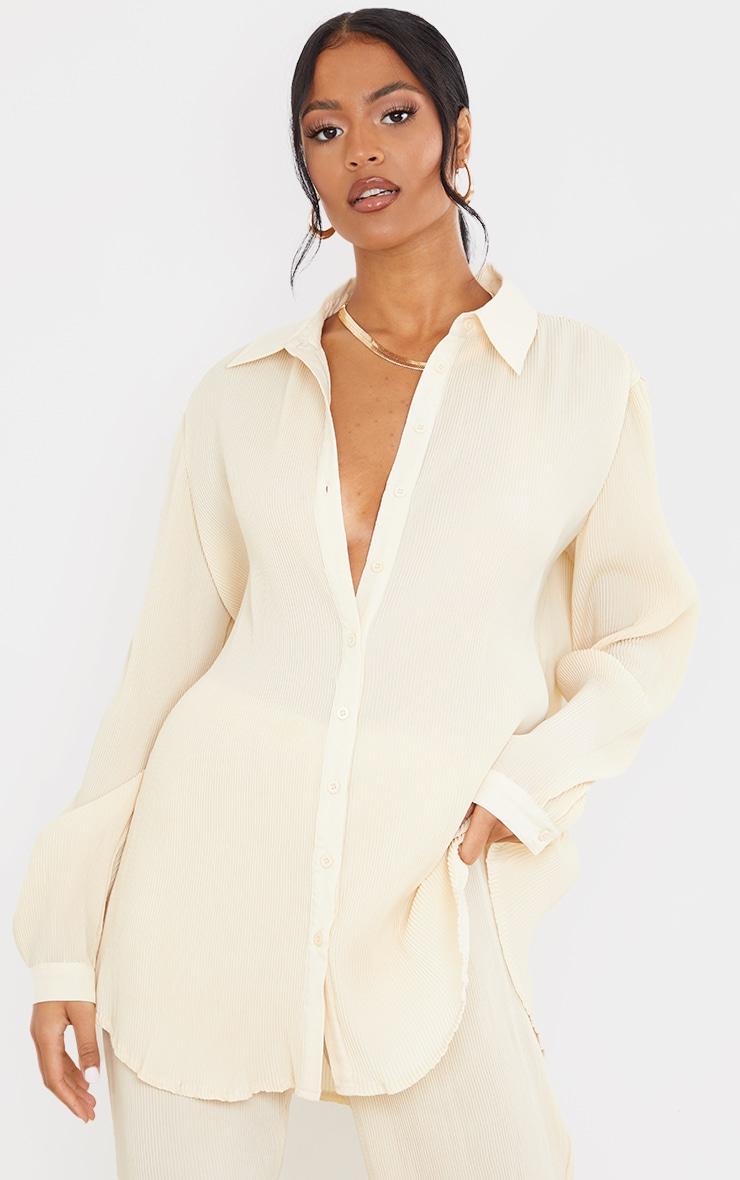 Tall  Cream Plisse Oversized Cuff Detail Shirt 1