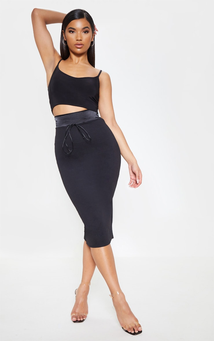 Black Satin Waistband Midi Skirt 1