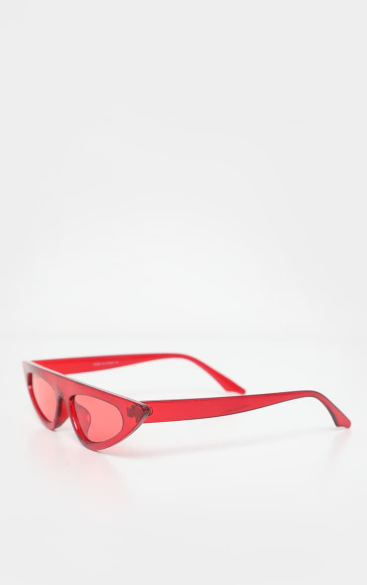 Red Flat Top Slim Cateye Sunglasses 3