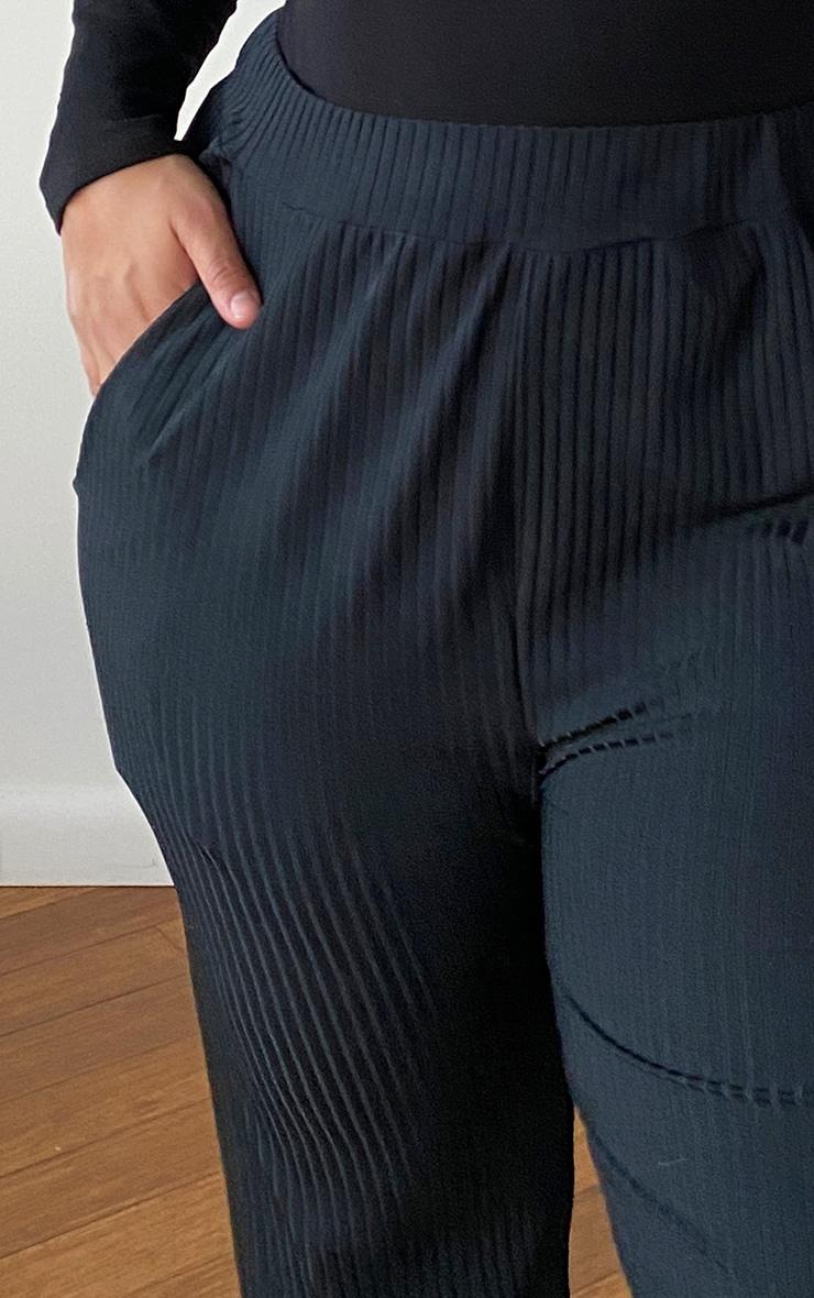 PLT Plus - Jogging côtelé noir à détail poches  4