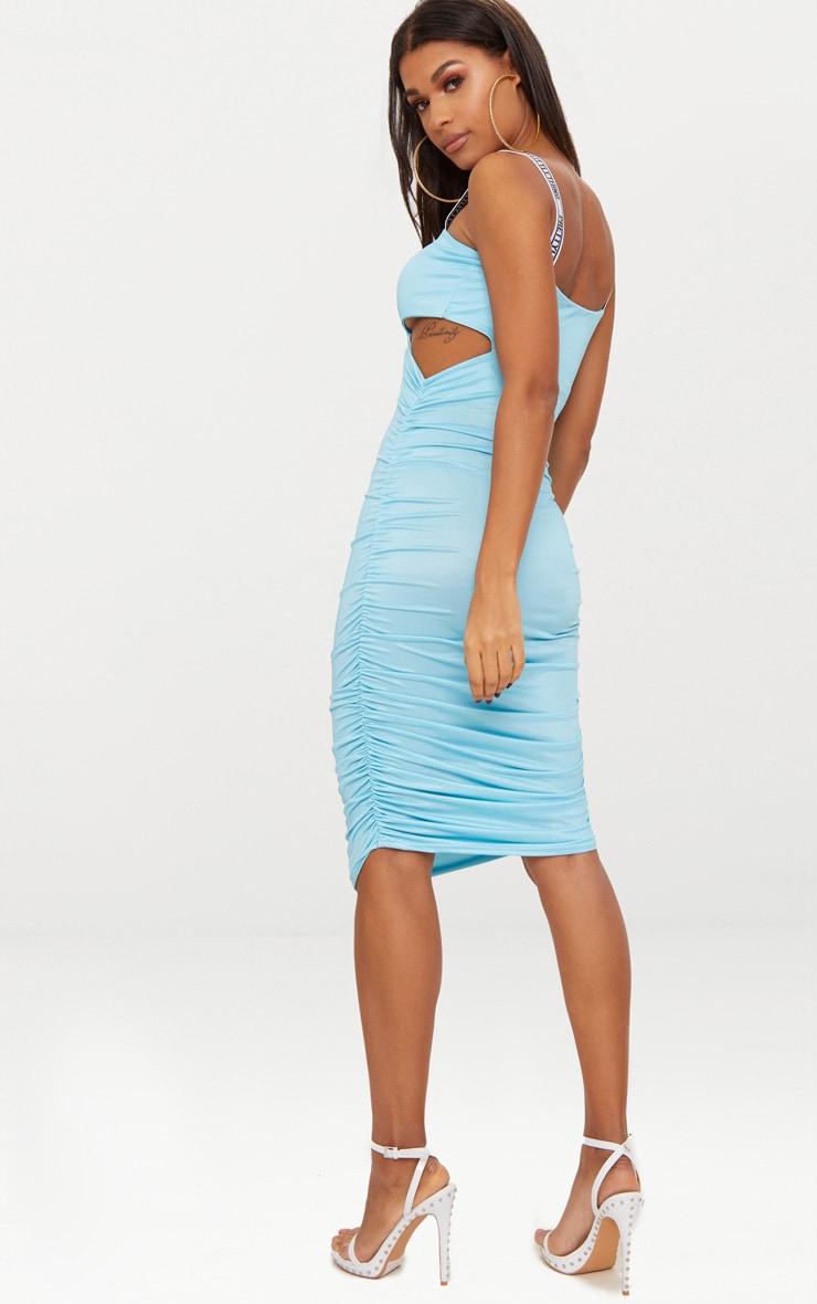 PRETTYLITTLETHING Sky Blue Twist Ruched Midi Dress 3