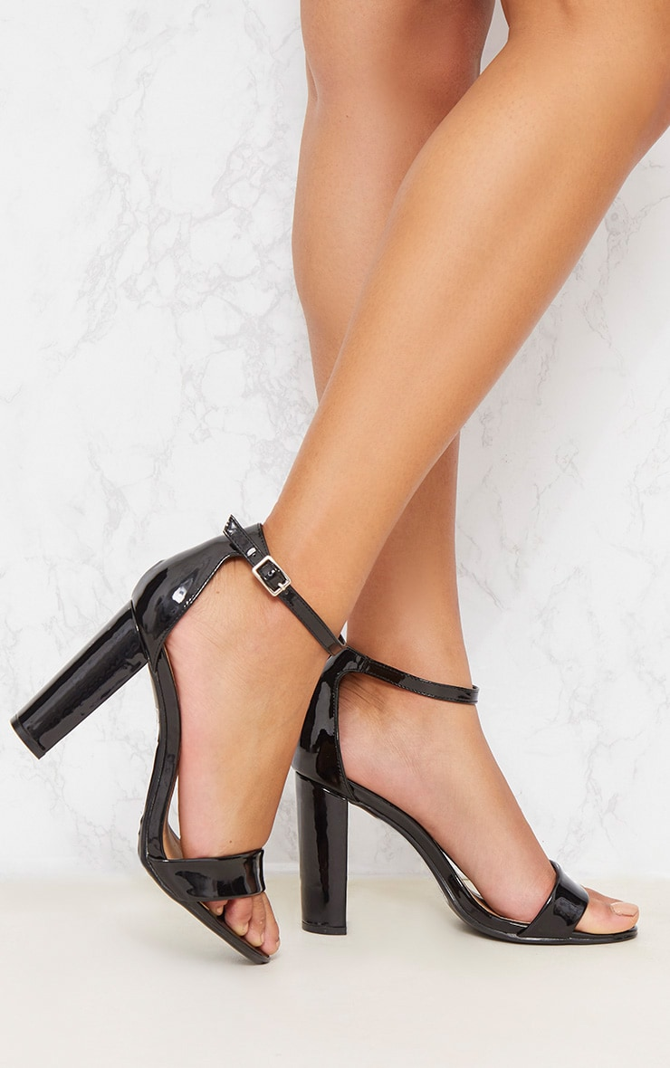 PRETTYLITTLETHING Patent Block Heel Strappy Sandal