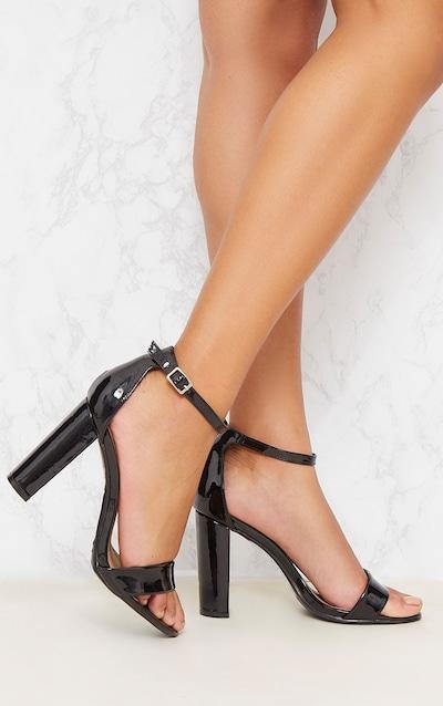 Sandales à bride noires vernies à gros talons 4be517e8d6e8