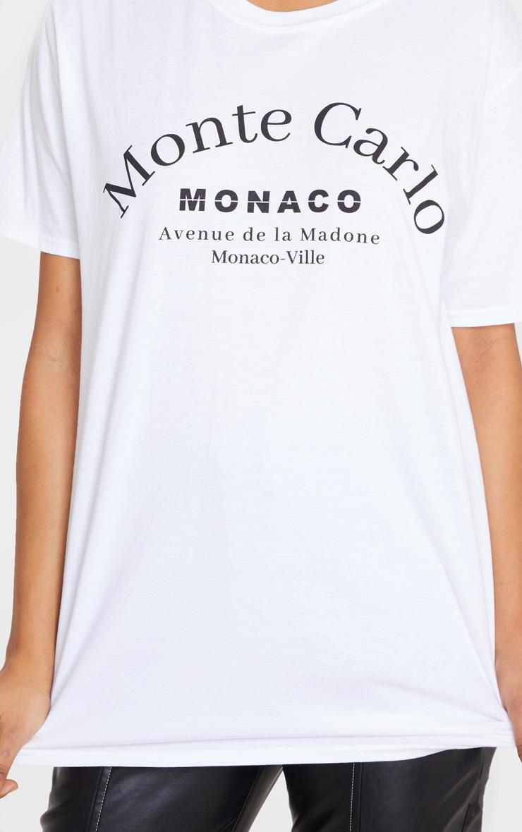 White Monte Carlo Slogan T Shirt 5