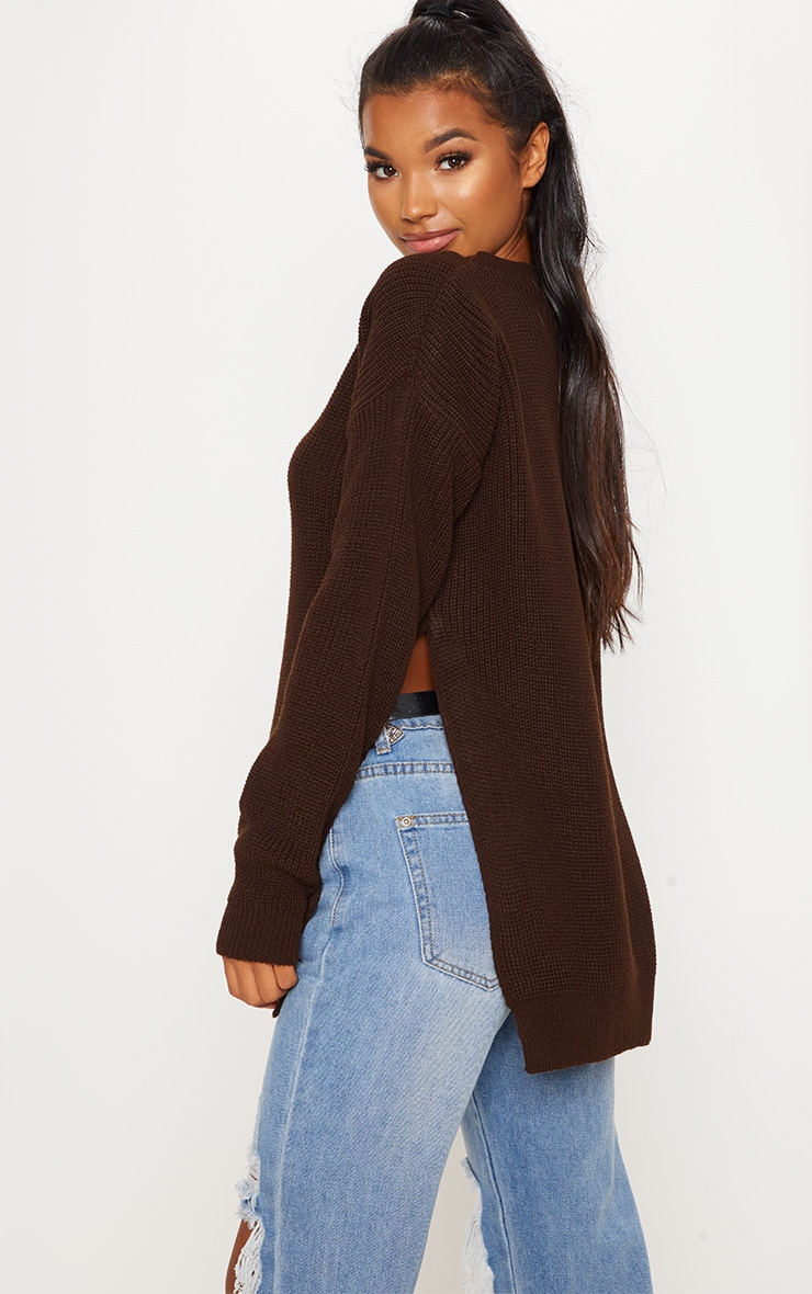 Chocolate Brown Round Neck Side Split Sweater  2