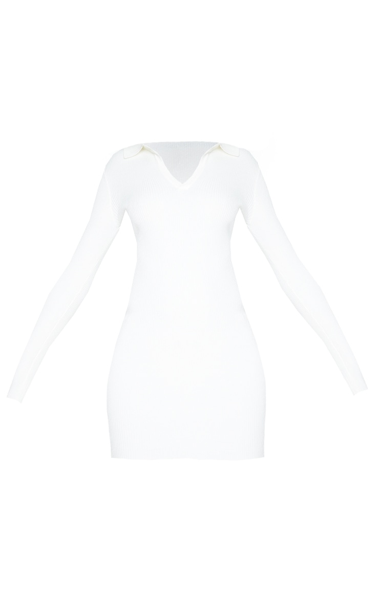Cream Long Sleeve Ribbed Knitted Bodycon Mini Dress 5