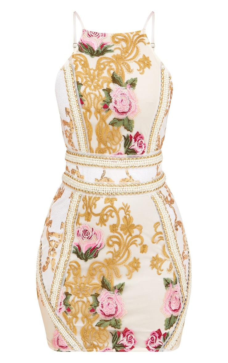 Premium White Embroidered Strappy Pearl Trim Bodycon Dress 3