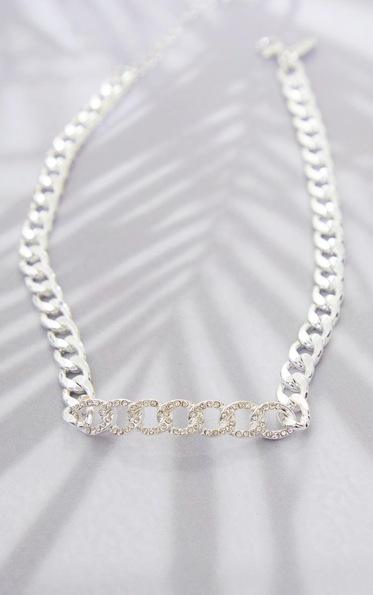 Silver Diamante Link Chain Choker 3