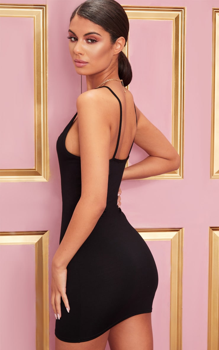 Basic Black Extreme Plunge Strappy Bodycon Dress 2