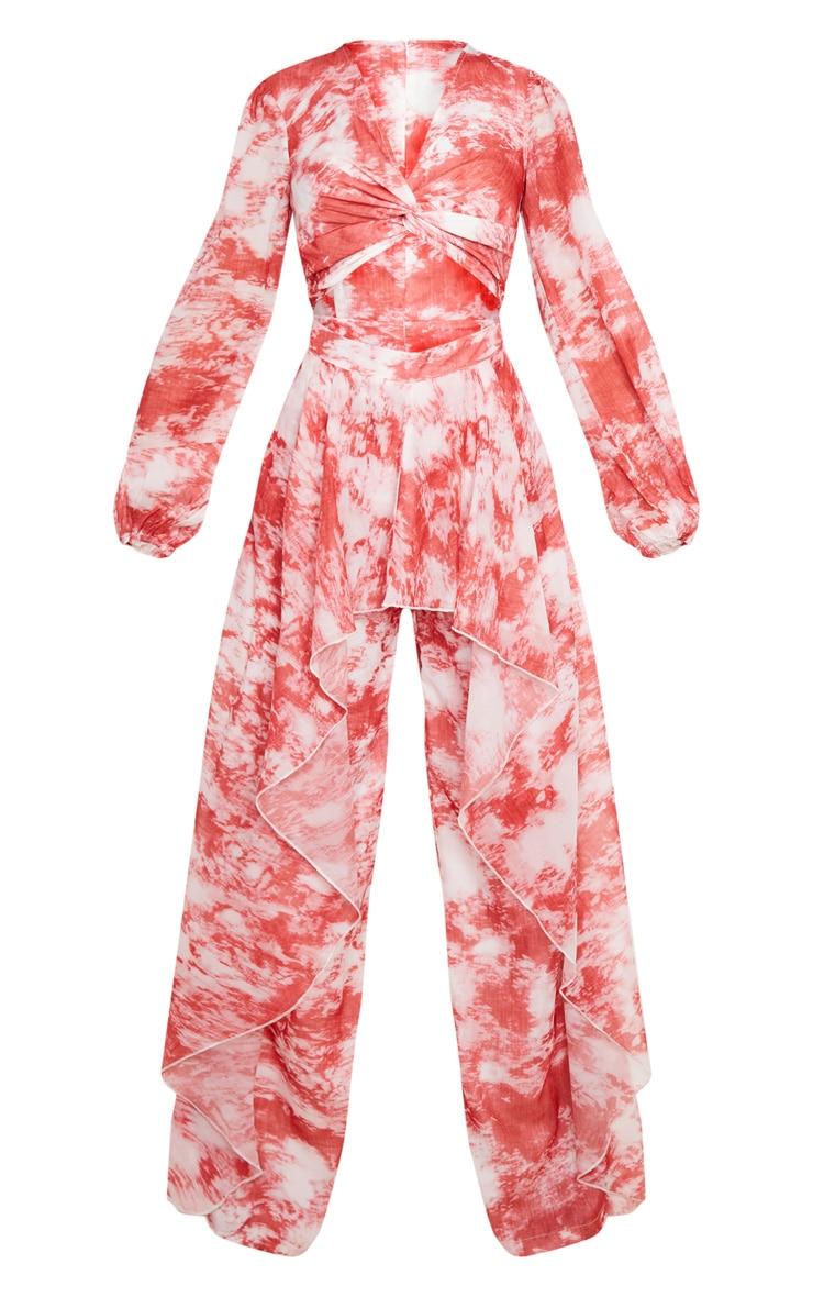 Combinaison rouge tie & dye en mousseline de soie à torsade frontale  5