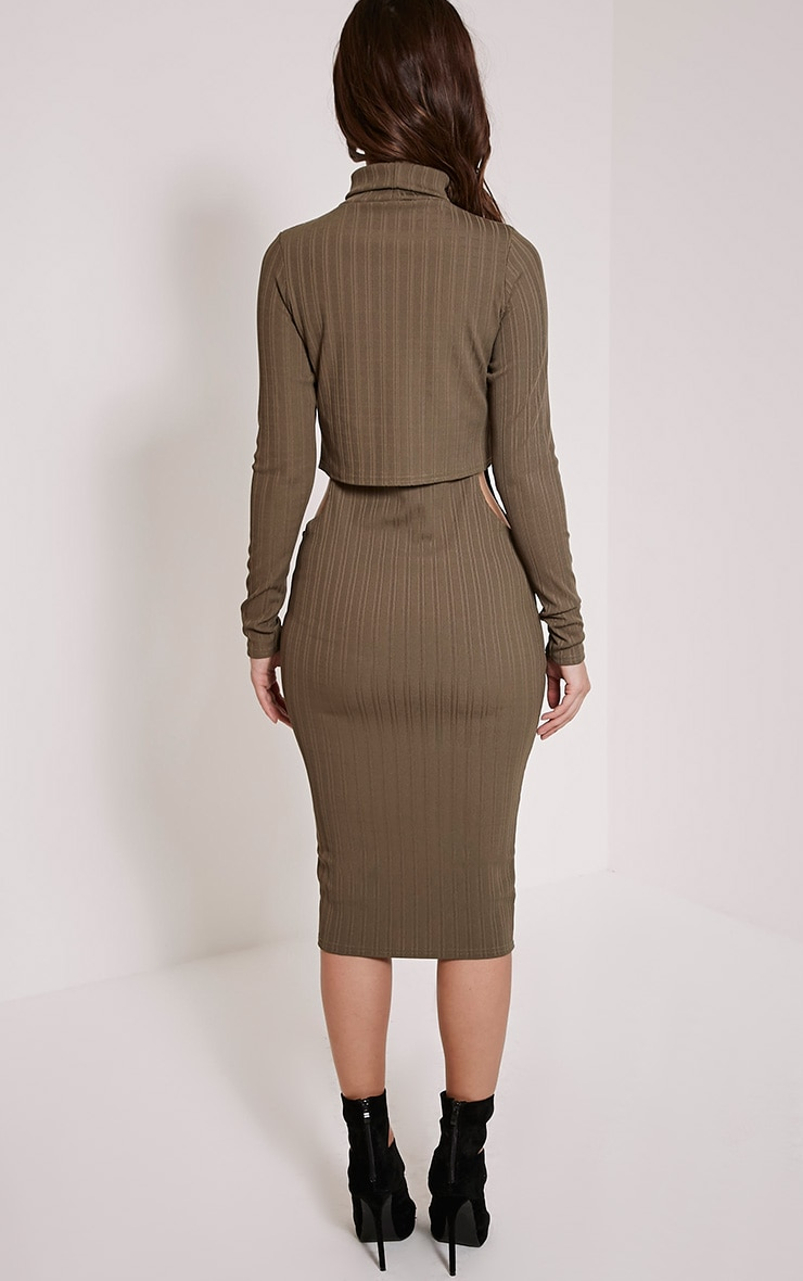 Alma Khaki Ribbed Cut Out Long Sleeve Midi Dress 2