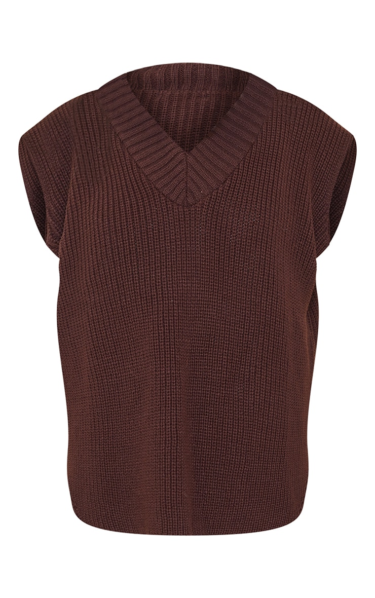Petite Chocolate V Neck Knitted Side Split Vest 5