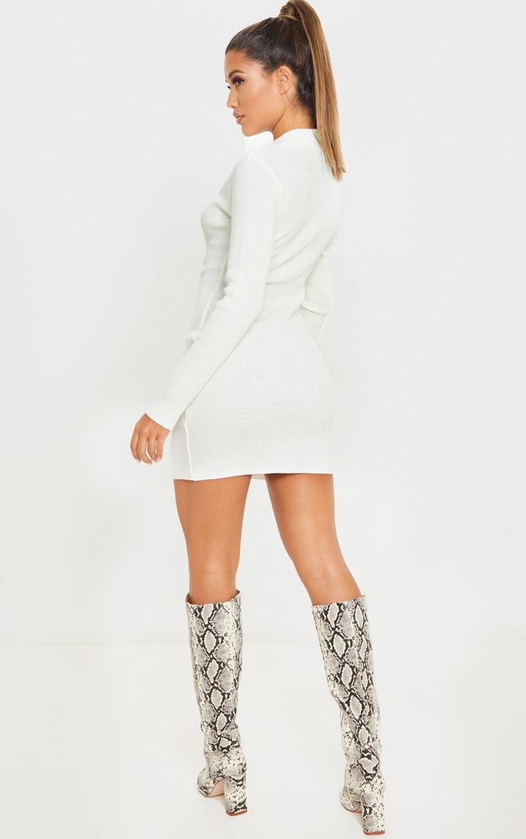 Cream High Neck Zip Front Rib Knit Dress 2