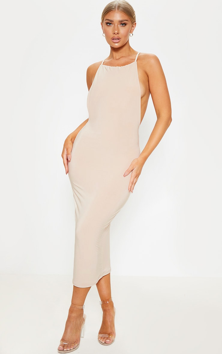 Nude Strappy Slinky Cross Back Midi Dress 2