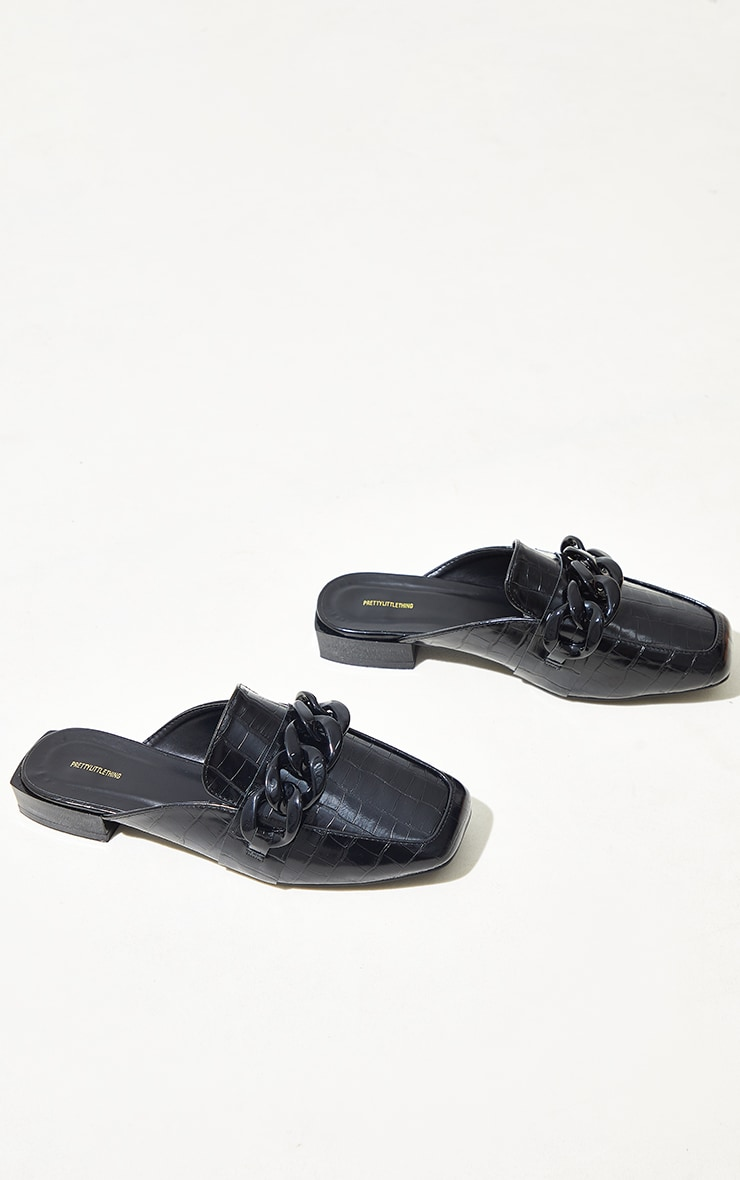 Black Wide Fit PU Croc Chain Detail Mules 4