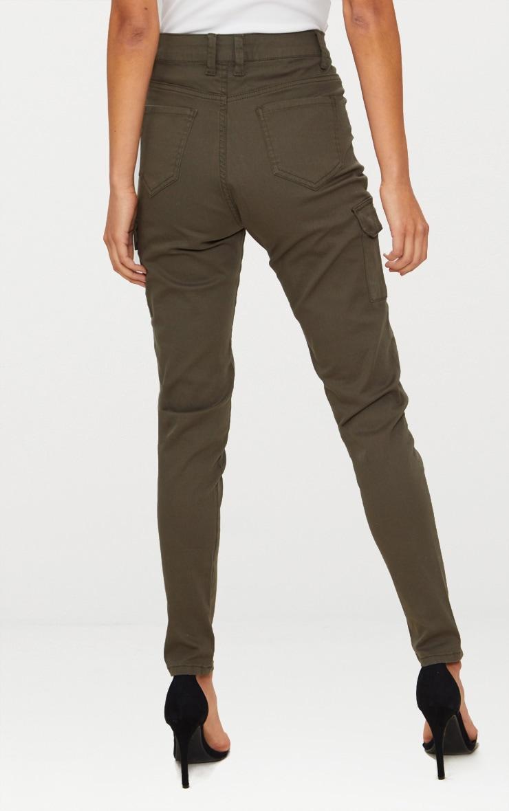 Khaki Pocket Detail Utility Skinny Jean 4