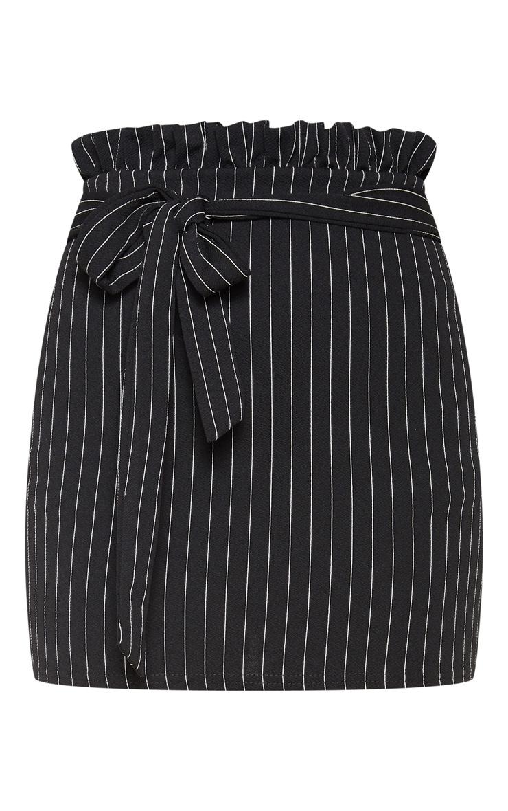 Black Pinstripe Paperbag Mini Skirt  3