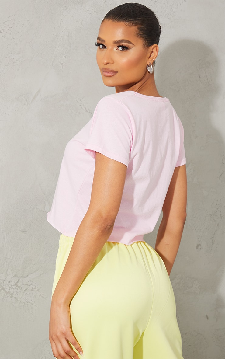 Baby Pink Staten Island Champs Embroidered Crop T Shirt 2