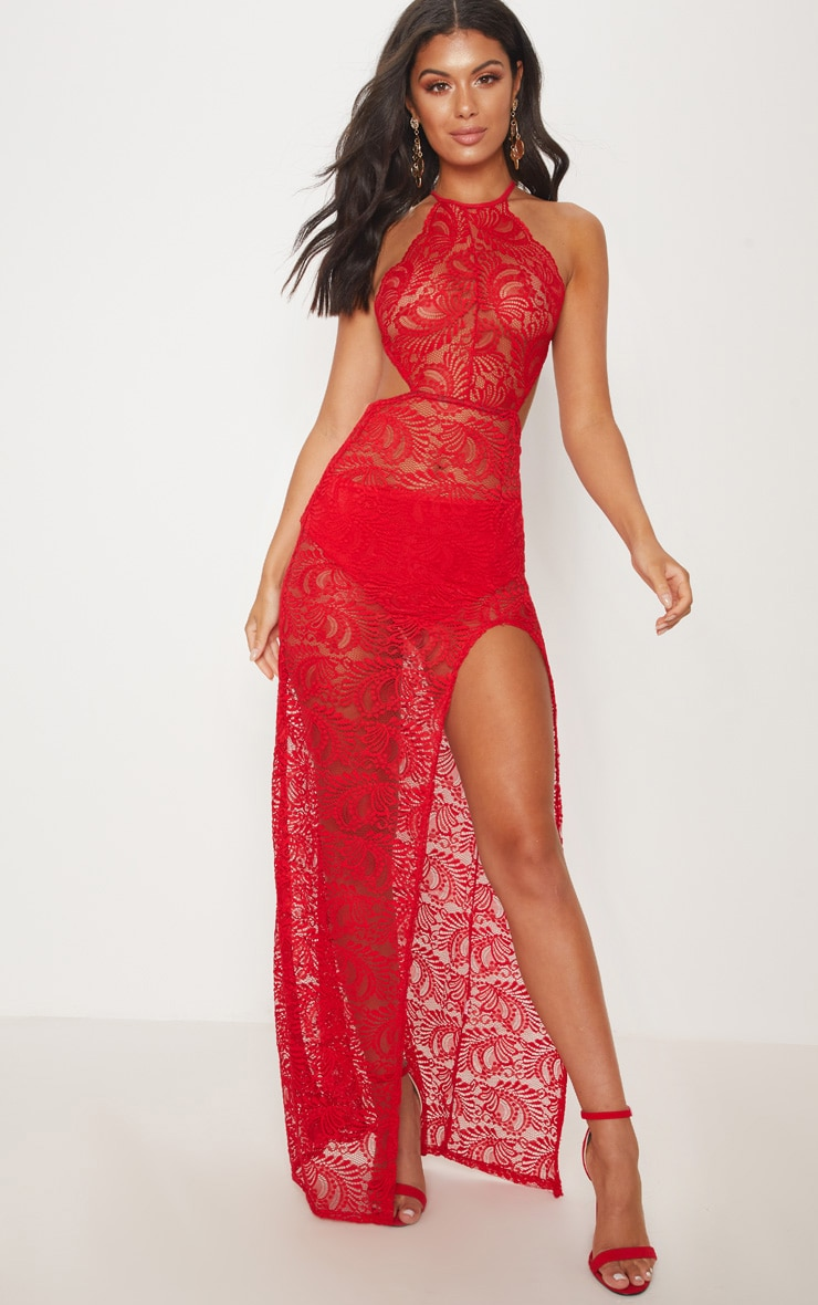 Red Sheer Lace Extreme Split Maxi Dress 1