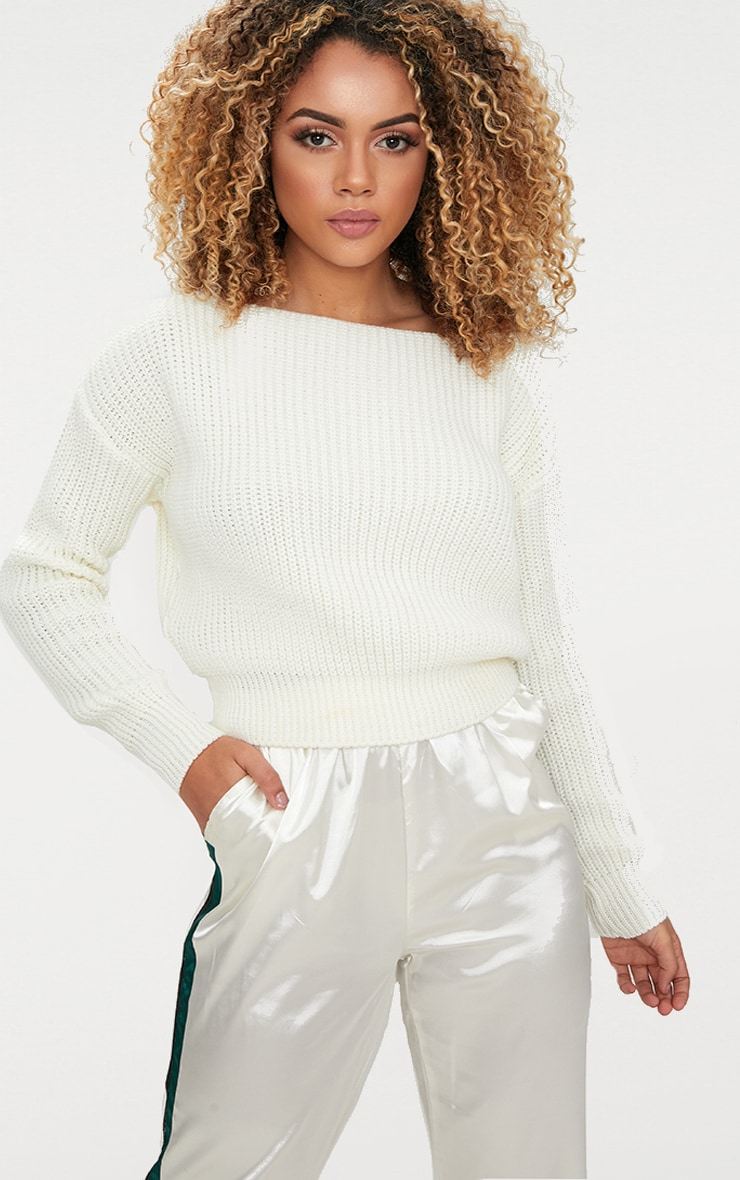 Cream Slash Neck Crop Jumper 1