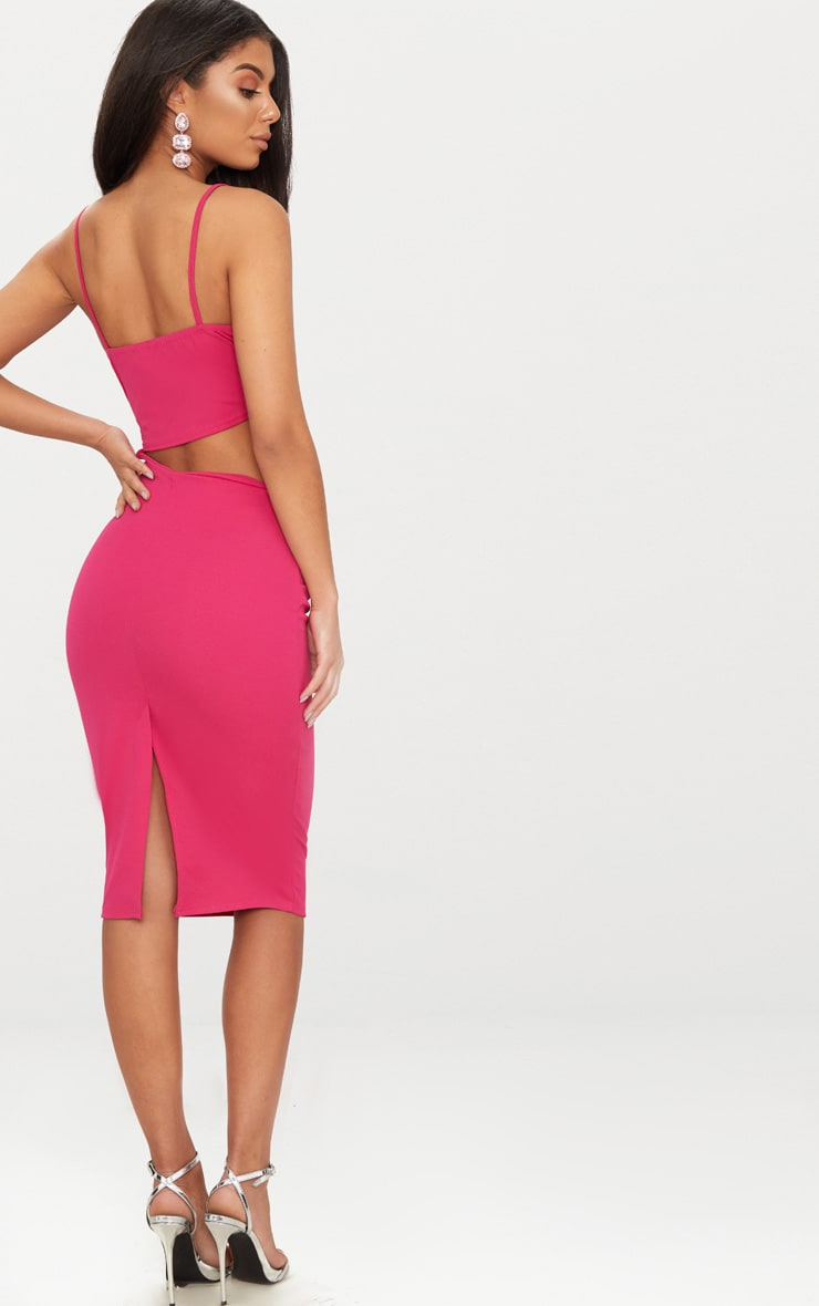Hot Pink Strappy Square Neck Cut Out Detail Ruched Skirt Midi Dress Pretty Little Thing Cheap Clearance Discount Best Place Ebay Sale Online 8qClp5tuE