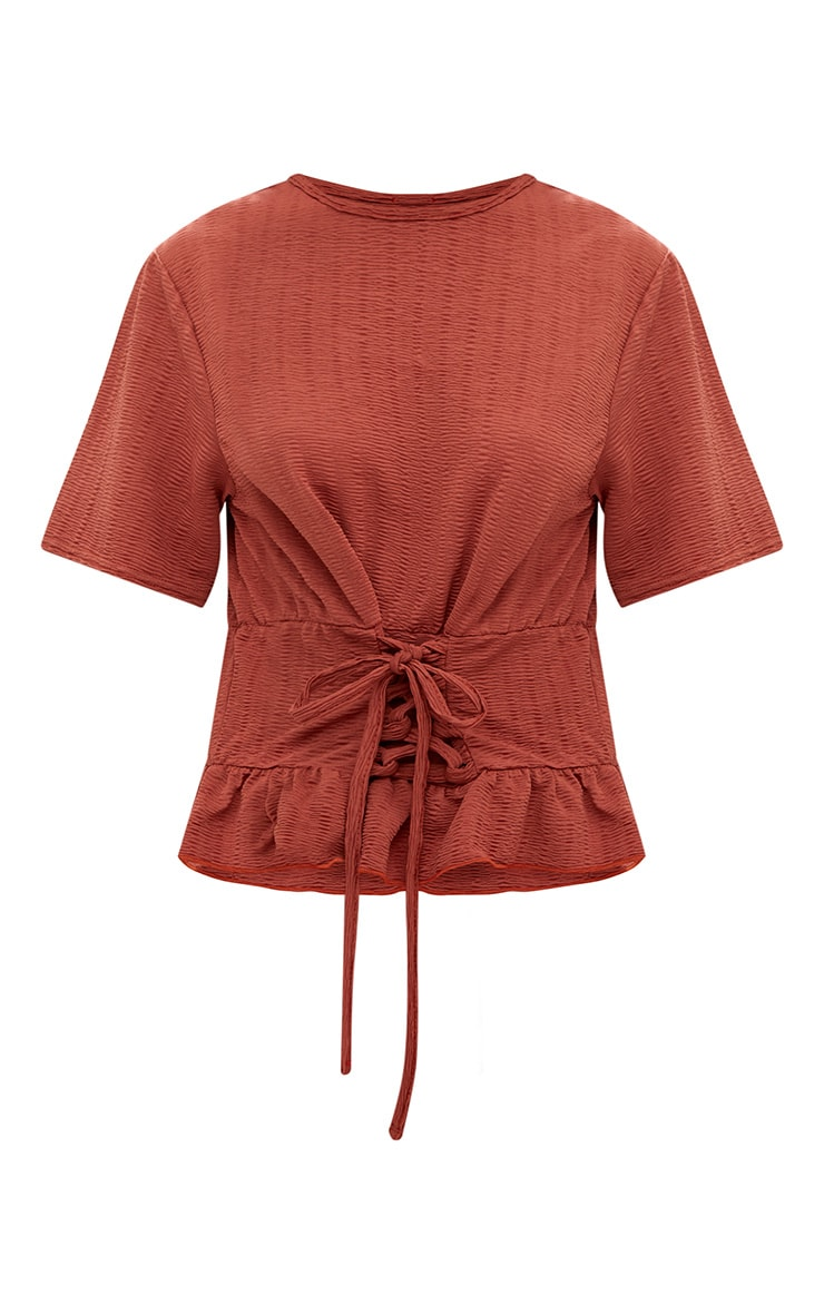 Rust Crinkle Lace Up Frill Top 3