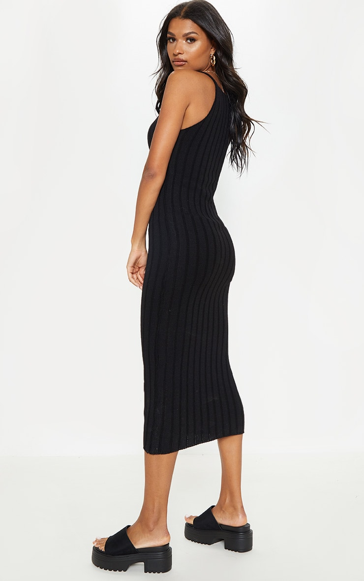 Black Ribbed Knitted Midaxi Dress 1
