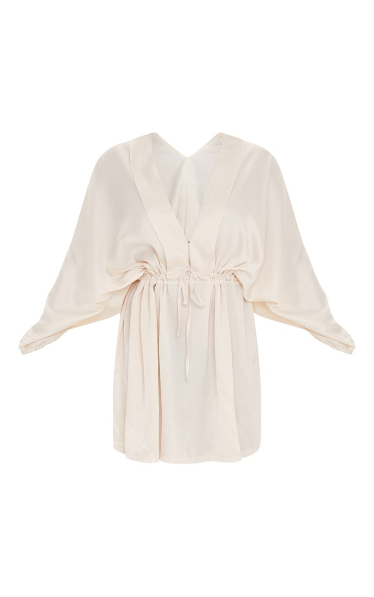 Cream Textured Woven Plunge Tie Waist Skater Dress 3