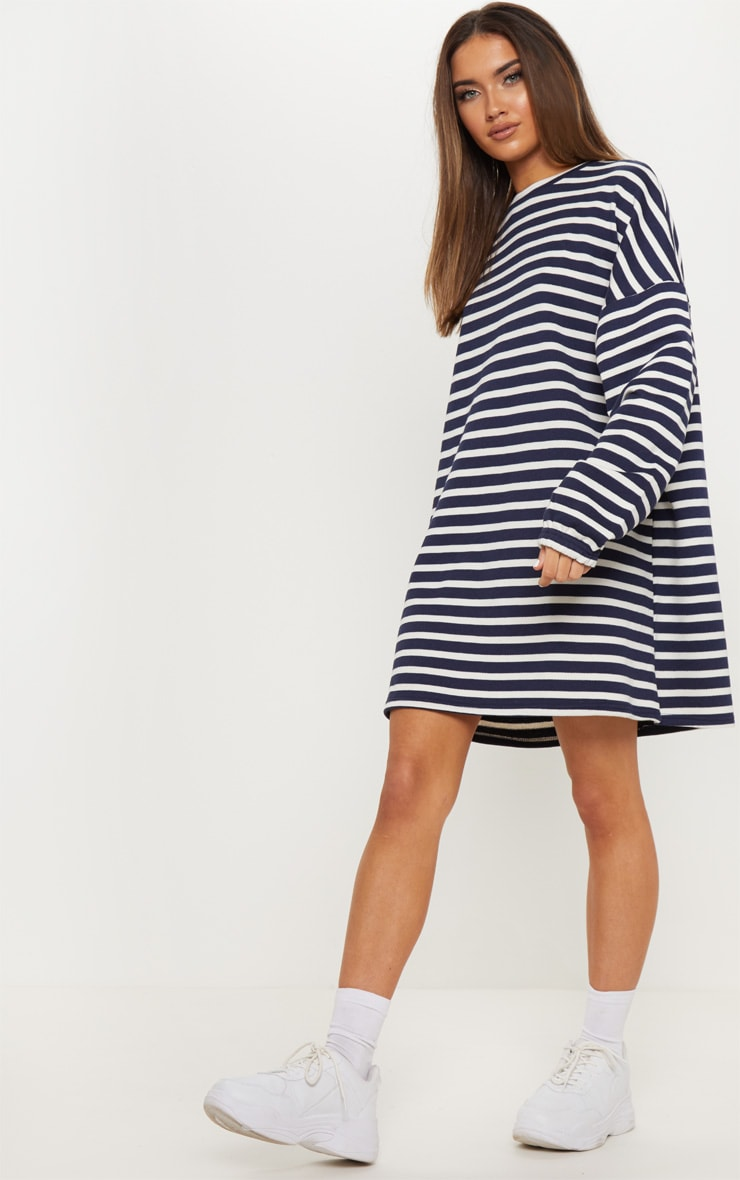 e5d964cc72c Navy Stripe Long Sleeve Oversized Jumper Dress image 1