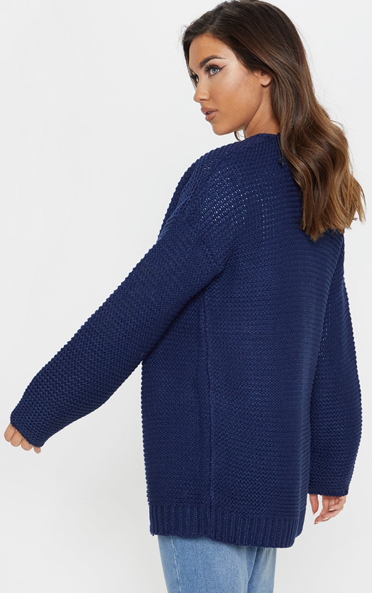 Navy Chunky Knitted Cardigan  2