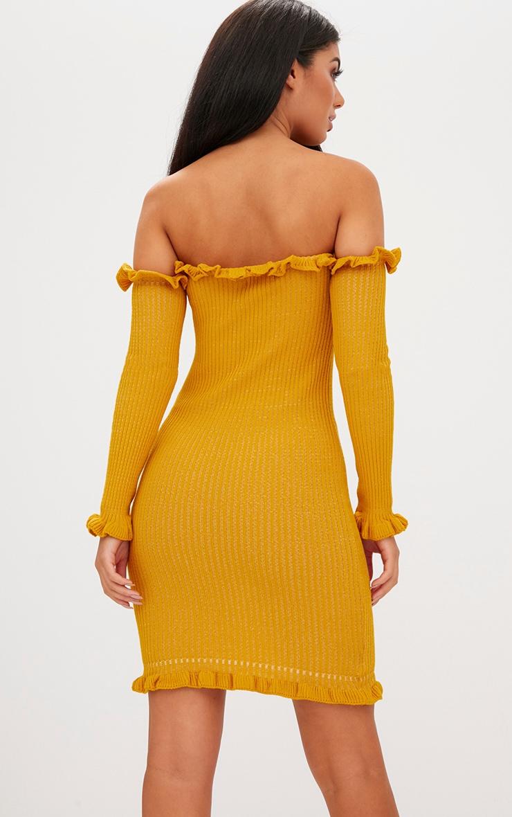 Mustard Ruffle Detail Bardot Mini Dress 2