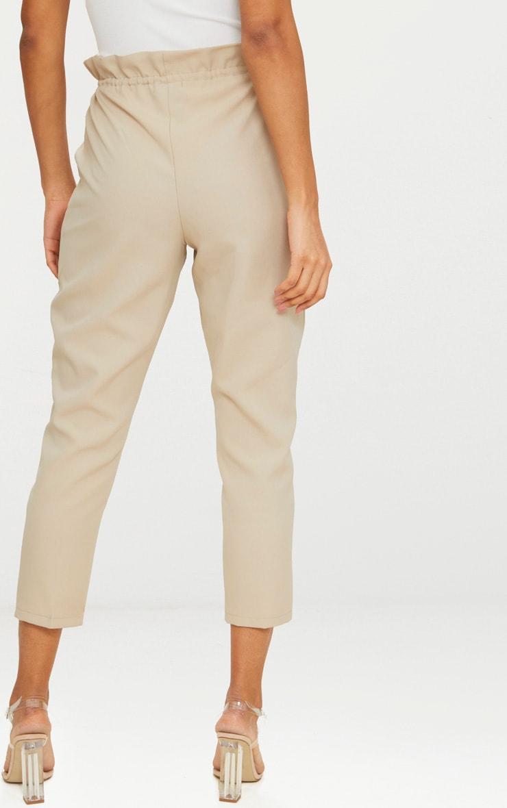 Stone Woven Paperbag Slim Leg Trousers 3