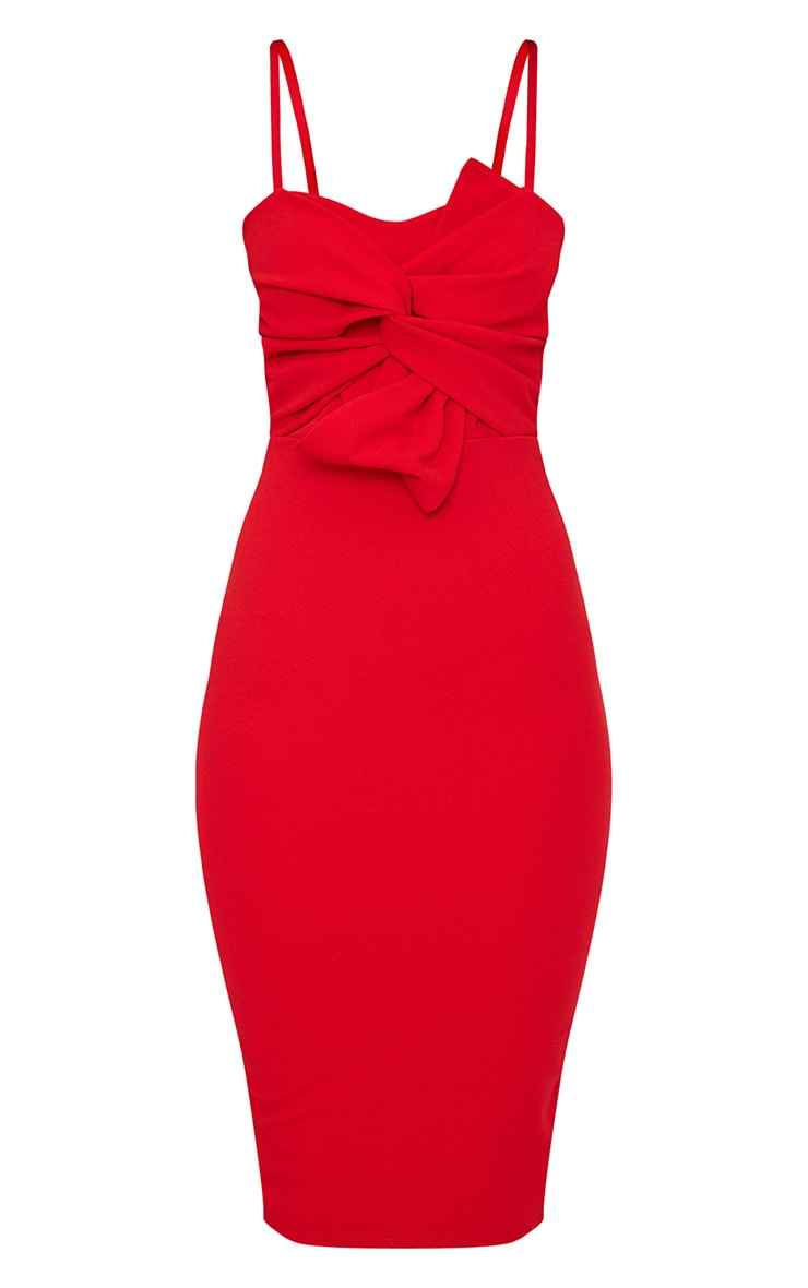 Red Strappy Bow Detail Midi Dress 3