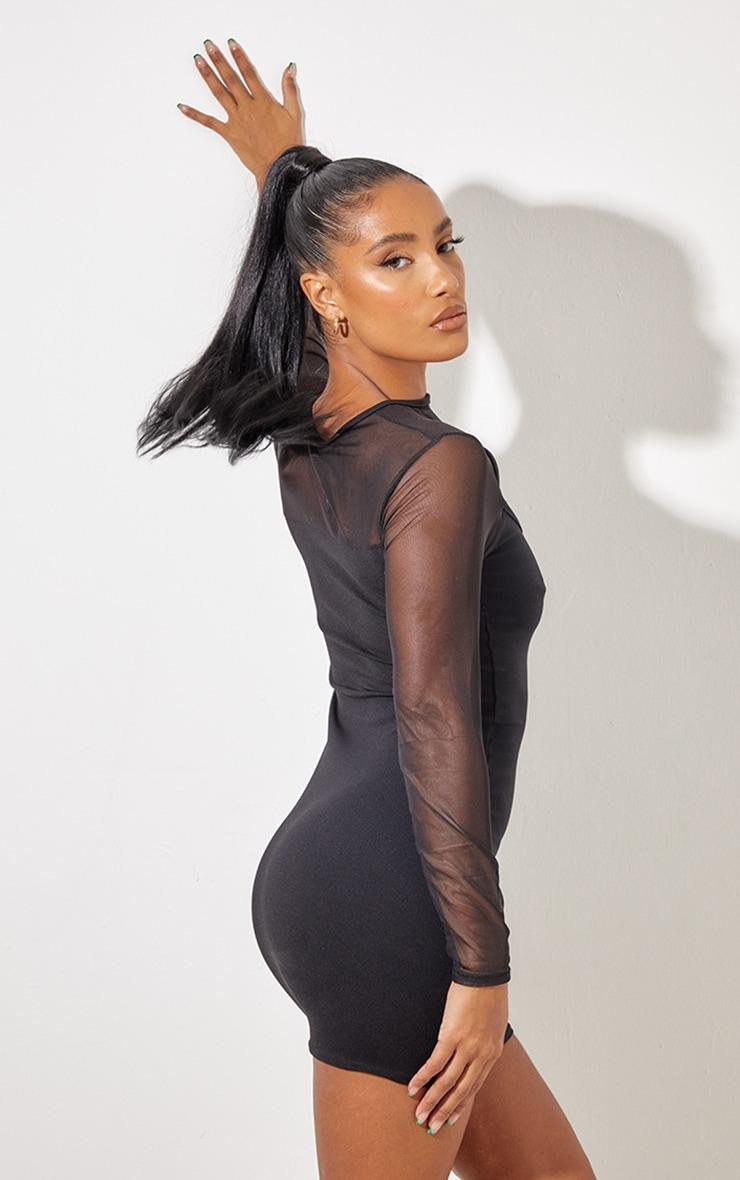 Black Mesh Bodice Cut Out Long Sleeve Bodycon Dress 3