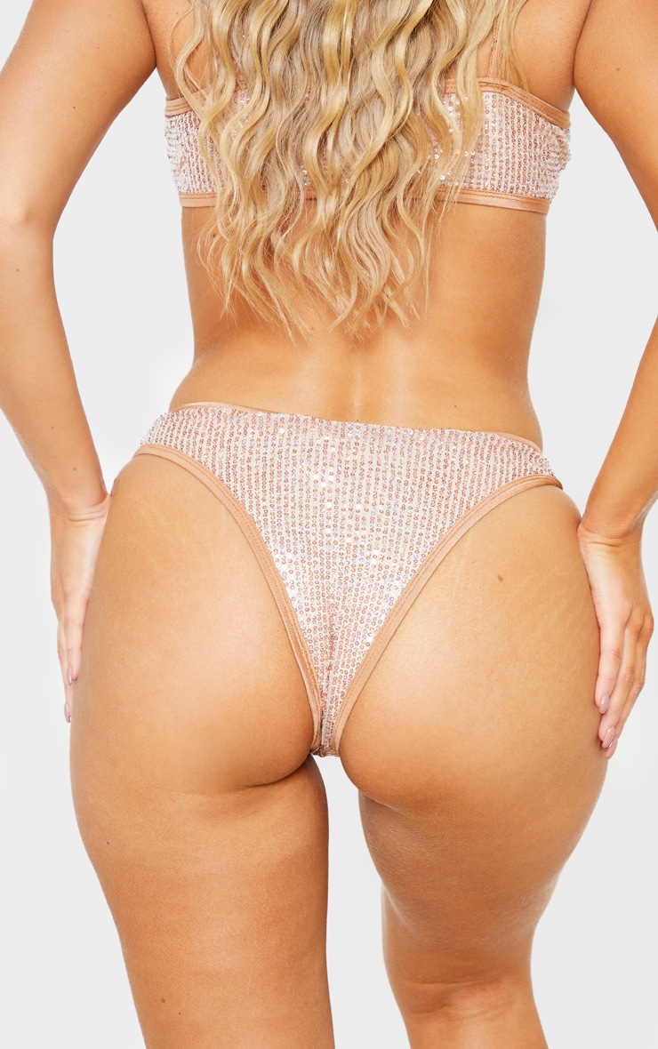 Rose Gold Sequin Bikini Bottom 5